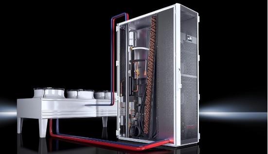 condensador híbrido externo, con refrigerador free cooling.